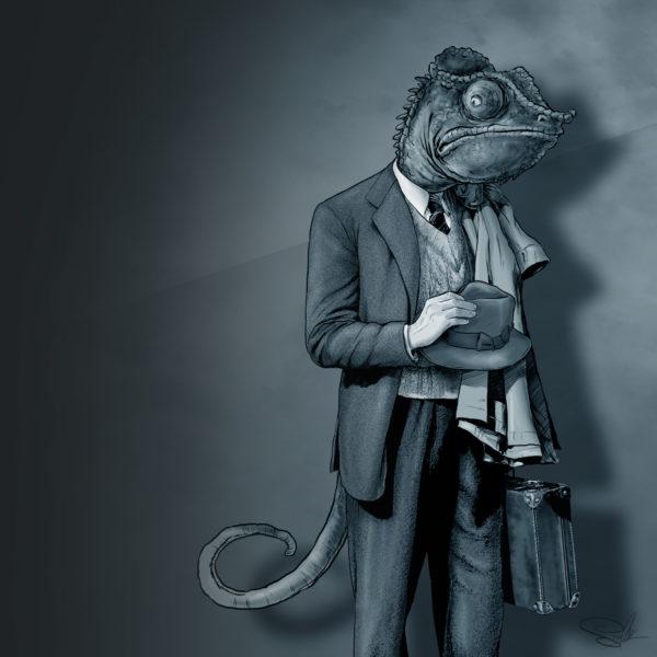 ilustracja kameleon jaszczurka kapelusz walizka