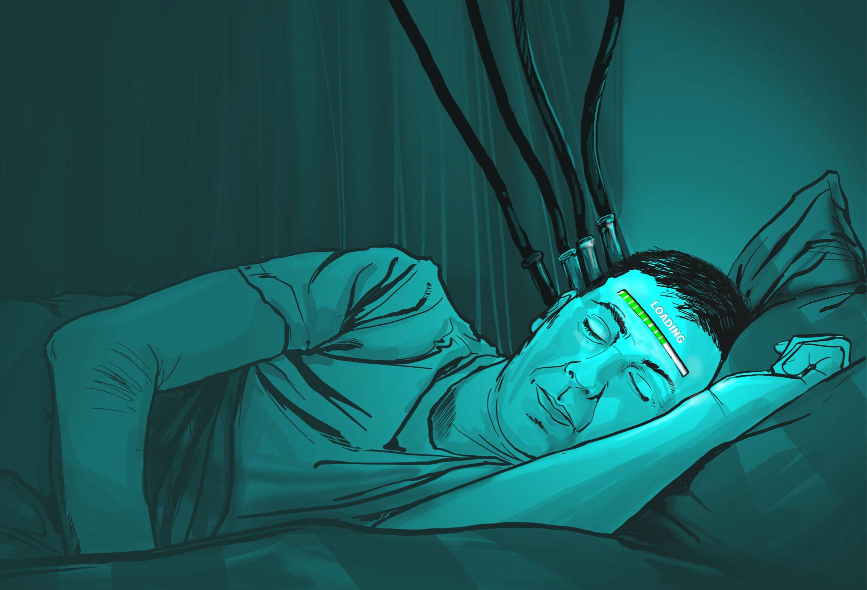 ilustracja sen mężczyzna ładowanie