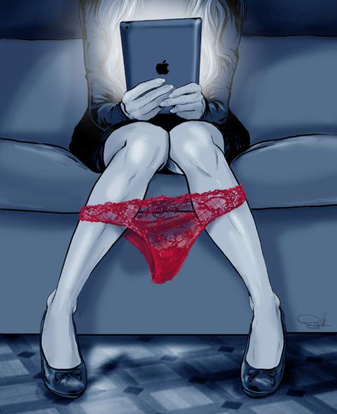 ilustracja iPad majtki kobieta internet