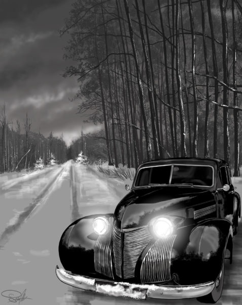 samochód stary zima droga