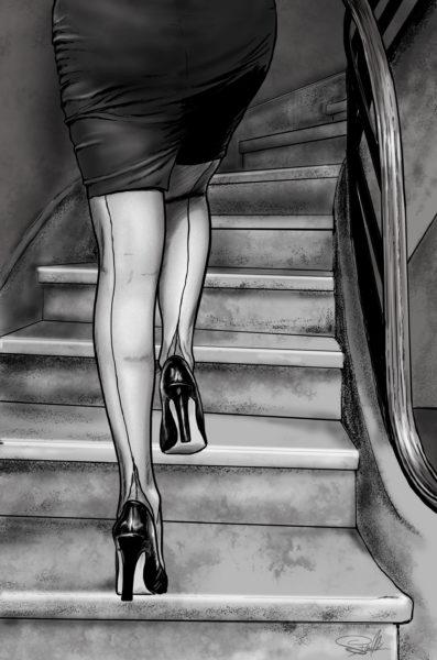 ilustracja kobieta szpilki schody