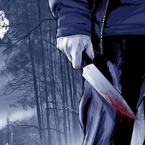 ilustracja nóż krew noc