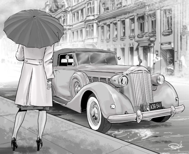 samochód kobieta parasol ilustracja
