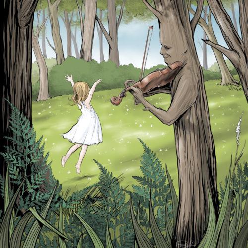 kolorowa ilustracja drzewo fantasy dziewczynka