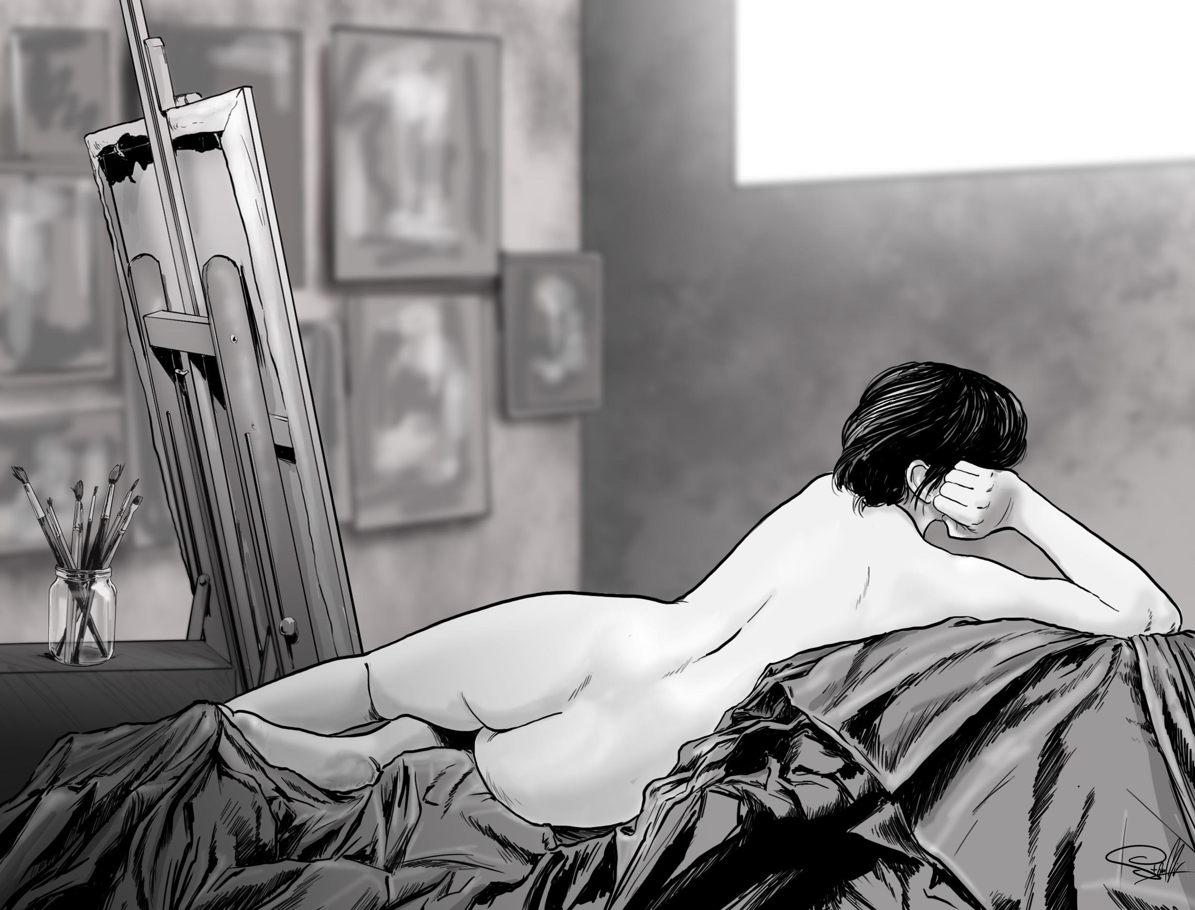 kobieta ilustracja płótno obraz pupa