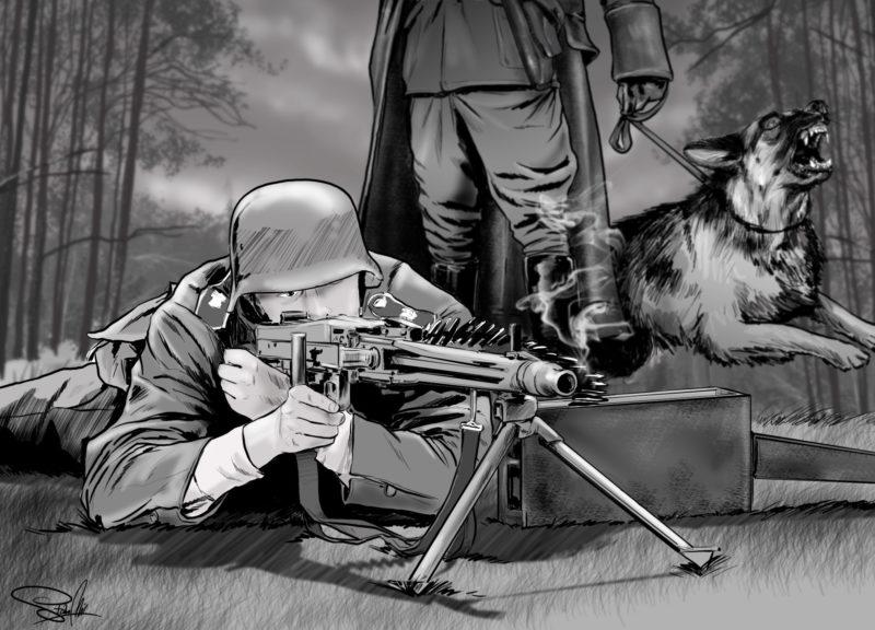 rysunek żołnierz wojna karabin