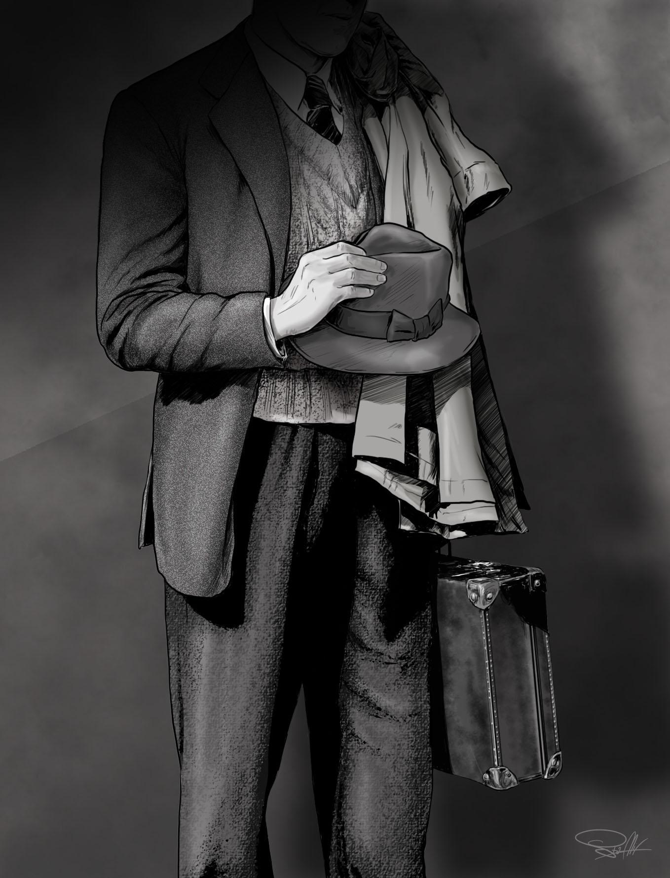 ilustracja mężczyzna kapelusz walizka