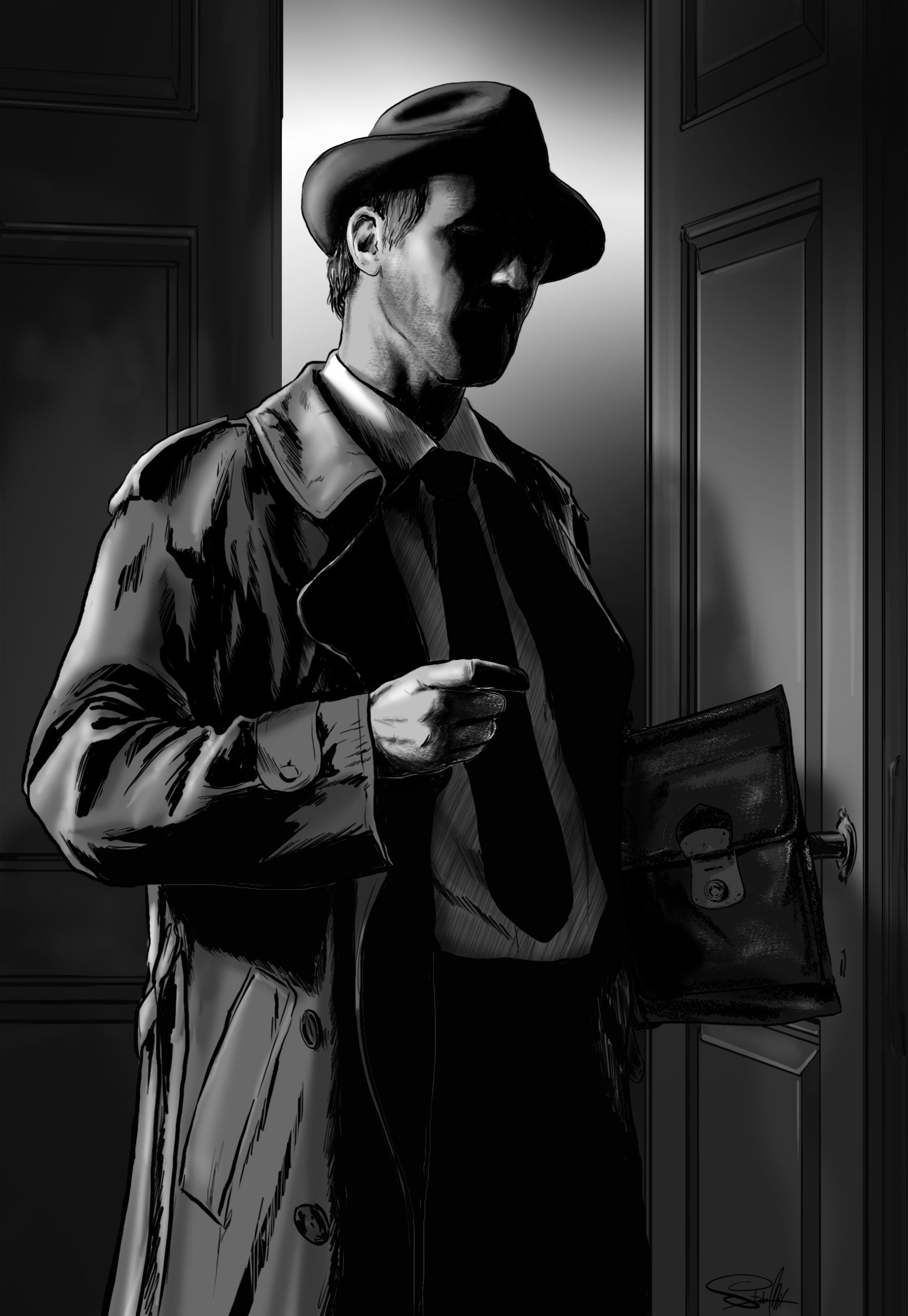 ilustracja mężczyzna wejście do pokoju