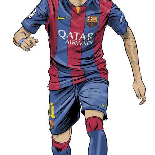 karykatura neymar piłka