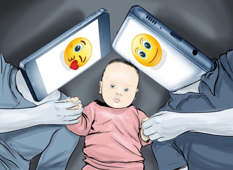 dziecko smart telefon emotikona