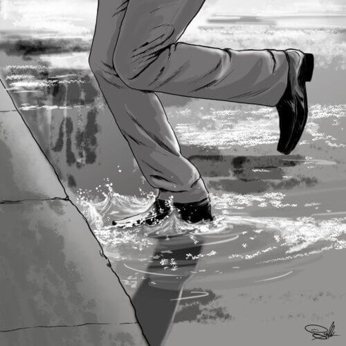 ilustracja kałuża ulica mężczyzna