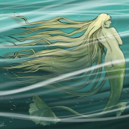 ilustracja blond włosy syrena