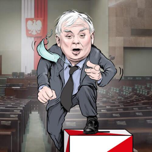 karykatura kaczyński urna sejm