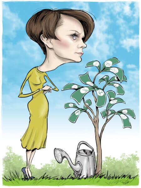 karykatura emilewicz minister pieniądze na drzewie