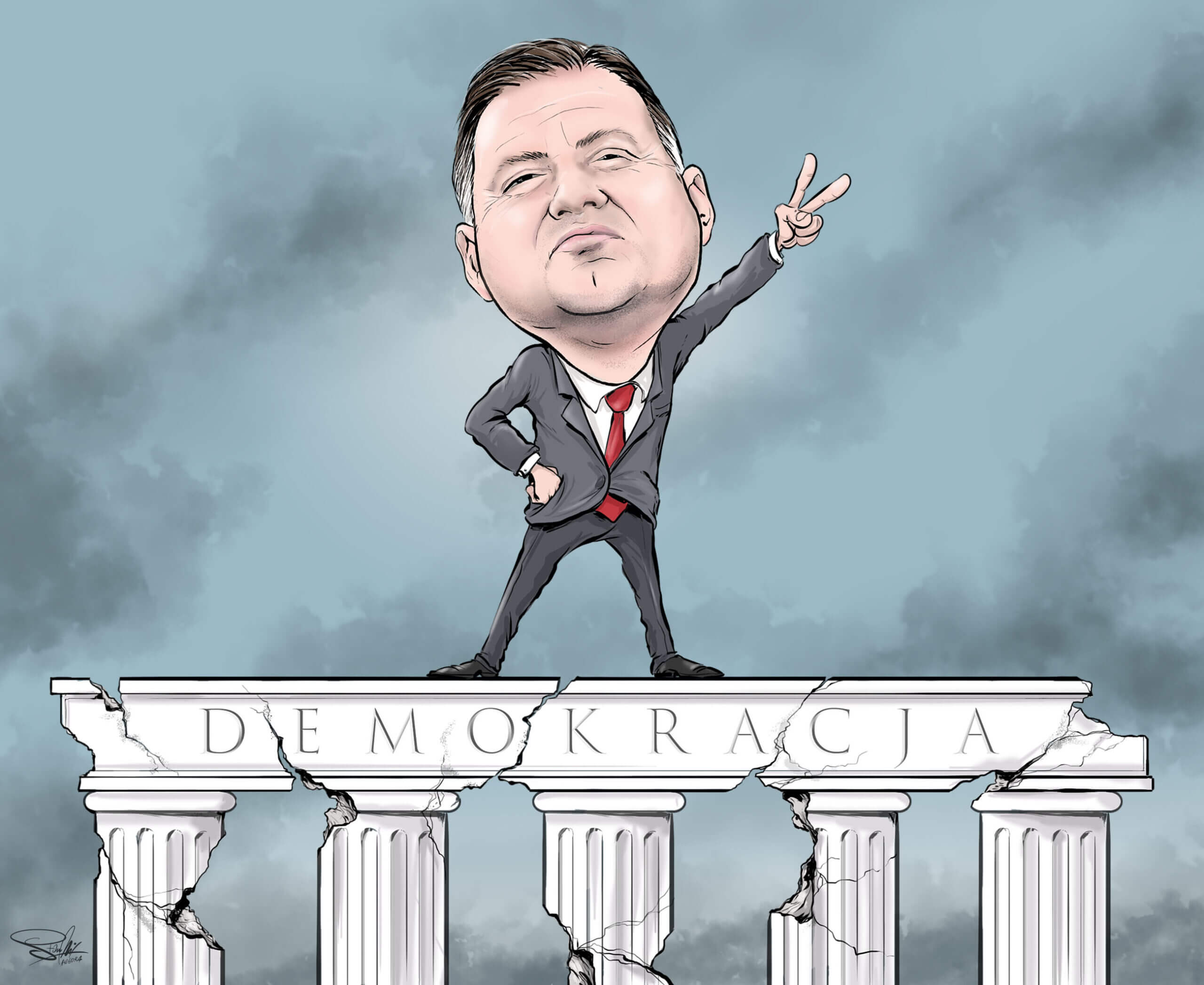 karykatura prezydent duda demokracja