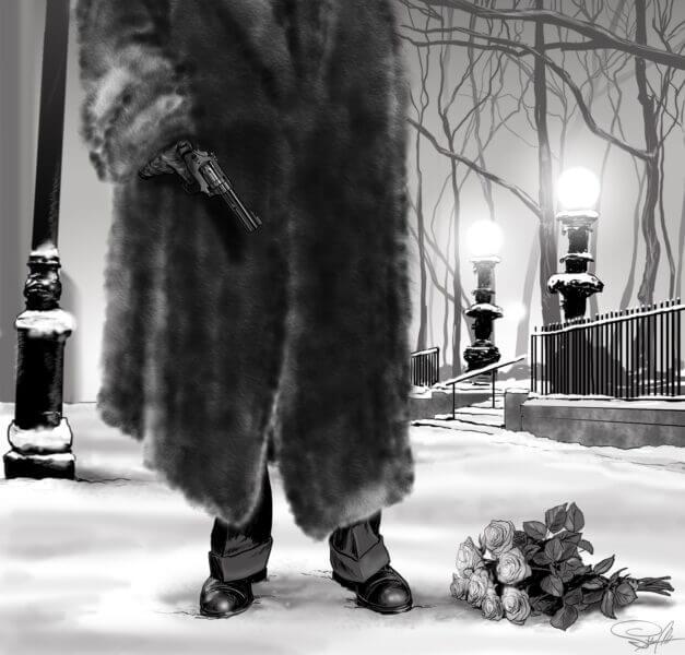 płaszcz zima ilustracja róże