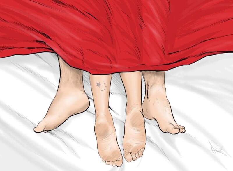nogi pościel ilustracja kochankowie