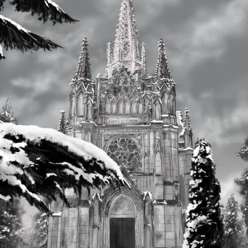 katedra zima ilustracja